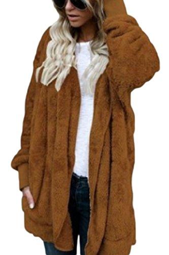 Grande yulinge Chaqueta Cremallera Talla Bolsillo con Mujeres Polar Outwear Brown con wqwxpUHF