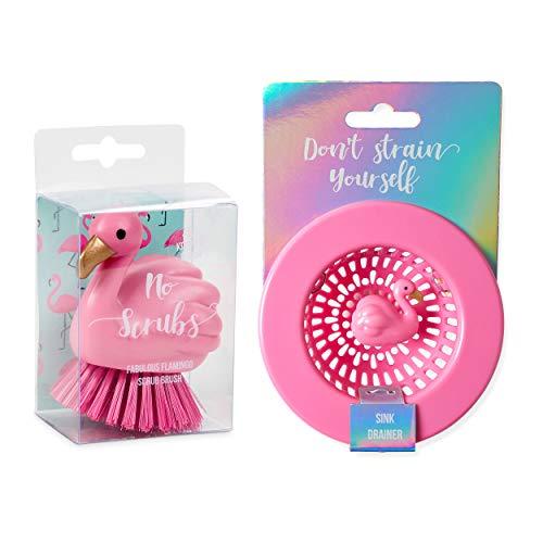 (Kitchen Sink Accessories Set with Flamingo Themed Kitchen Dish Scrubber Scouring Palm Grip Scrub Brush and Sink Drain Basket Strainer by Tri-Coastal Design)