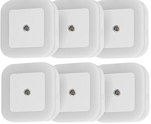 Homelight 0.5W LED Night Light Lamp with Dusk to Dawn Sensor, for Baby Kids Room, Hallway, Stairs, Bedroom, Nursery(6 Packs-White)