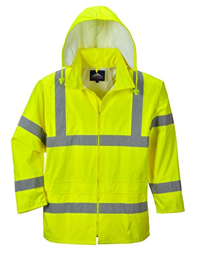 Portwest Waterproof Rain Jacket, Lightweight, Yellow, 2X-Large (Reflective Jacket Coat)
