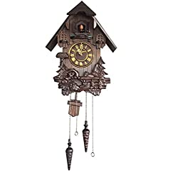 Vmarketingsite Wall Cuckoo Clocks Black Forest Wooden Cuckoo Clock. Black Forest Hand-carved Cuckoo Clock. Bright Cuckoo Bird Sounds On The Hour And Chime Has Automatic Shut-Off. Excellent Gift.