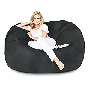 Lumaland Luxury 5 Foot Bean Bag Chair With Microsuede Cover Black Machine Washable Big Size Sofa And Giant Lounger Furniture For Kids Teens Adults