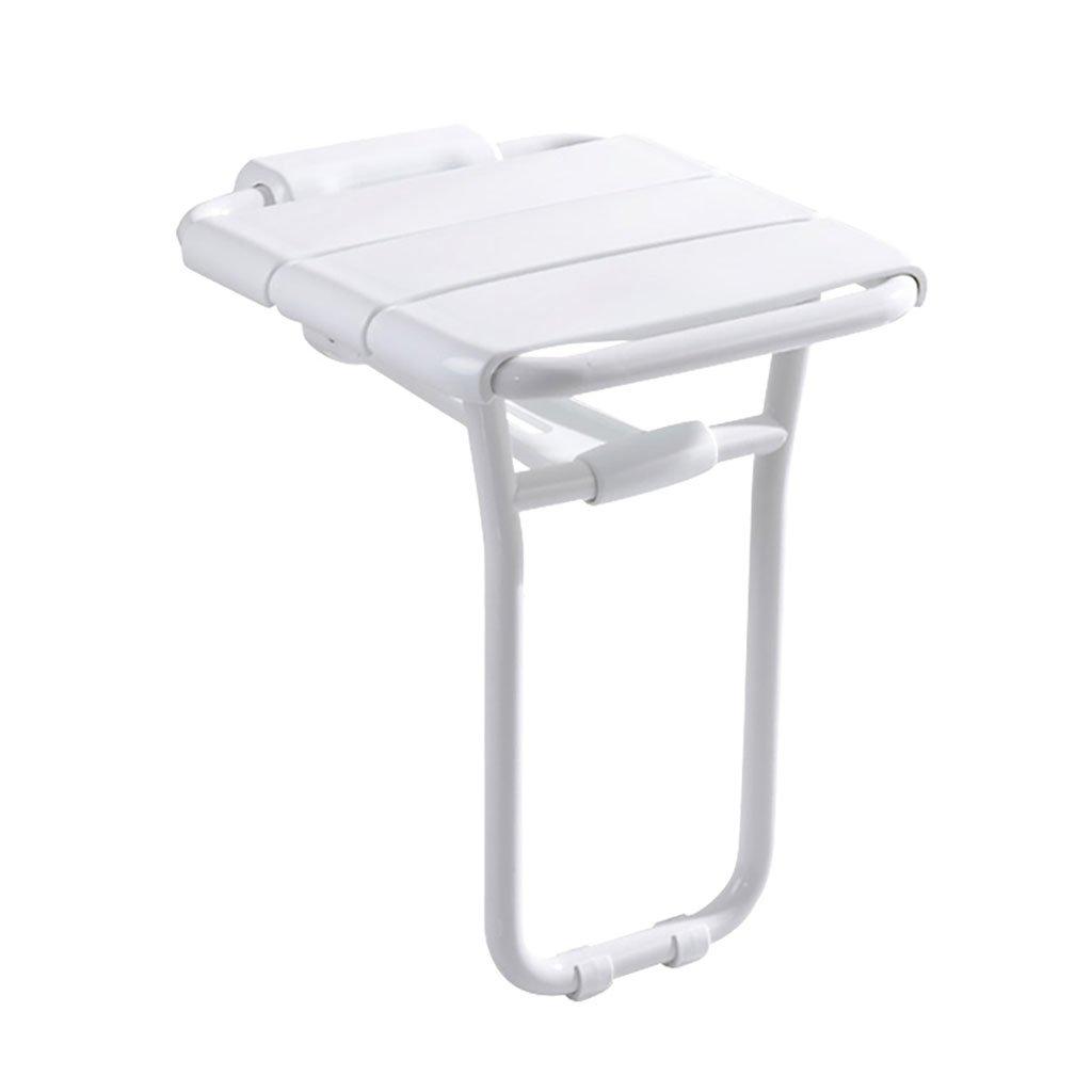 バスルームの折り畳み式の壁の席の入り口の廊下のバスルームのシャワーのスツールの壁のスツール (色 : 白) B07DFDJ5FF 白 白