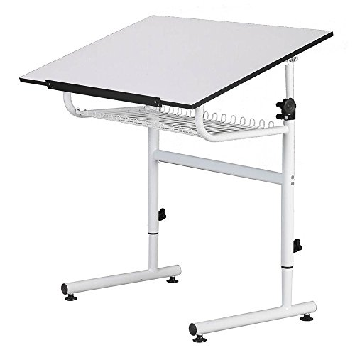 Offex Universal Design White Gallery Drafting and Hobby Craft Table by Offex