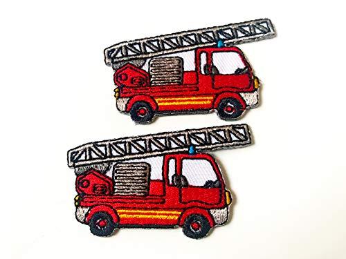 (Tyga_Thai Brand Set 2 pcs. Mini Red Fire Truck Cute Cartoon Logo DIY Sew on Iron on Embroidered Applique Patch Store (Iron-FIRE-Truck-Cartoon))