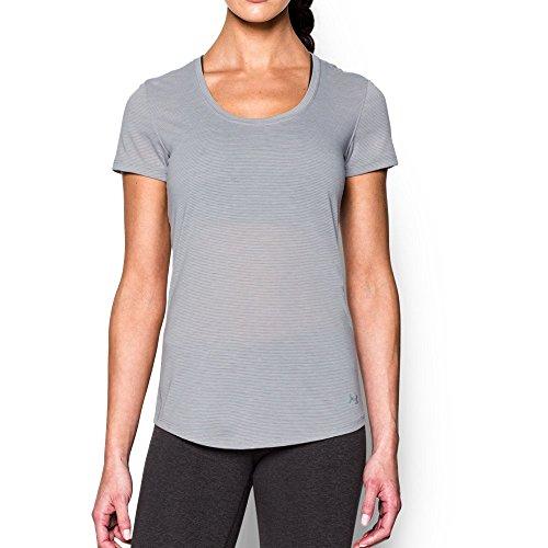 Under Armour Gray Shirt (Under Armour Women's Streaker Short Sleeve T-Shirt, True Gray Heather/Reflective, Medium)