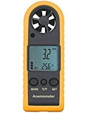 Handheld Digital LCD Backlight Anemometer Airflow Gauge Wind Speed Air Velocity Temperature Chill Meter Thermometer