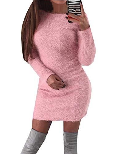 XINHEO Fall Stretch Women's Plush Plus Pink Tunic Winter Size Sexy Dresses pfrwRpOq