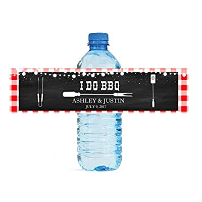 DesignThatSign 100 I Do BBQ Chalkboard & Gingham Wedding Anniversary Engagement Party Water Bottle Labels Birthday Party Easy to Use Self Stick Labels: Toys & Games