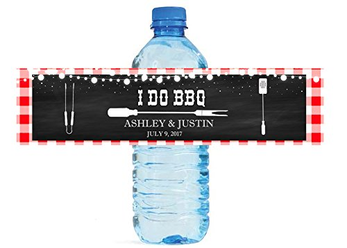 DesignThatSign 100 I Do BBQ Chalkboard & Gingham Wedding Anniversary Engagement Party Water Bottle Labels Birthday Party Easy to Use Self Stick Labels]()