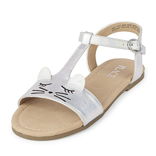 Large Product Image of The Children's Place Girls' BG Sugar Cat Flat Sandal, Silver, Youth 3 Medium US Big Kid