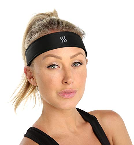 SAAKA Women's Fully Adjustable Headband (Black, Small)