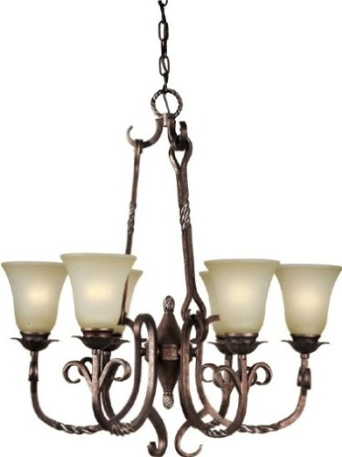 (Forte Lighting 2212-06-27 Hanging 6-Light Chandelier with Umber Mist Glass, Black Cherry Finish, 26