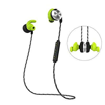 PowerLead U2 Bluetooth Wireless Headset Magnet Attraction V4.1 Wireless Bluetooth Earbuds Earphones Sweatproof Hands Free In-Ear Headphones with Microphone Stereo for Running Sports