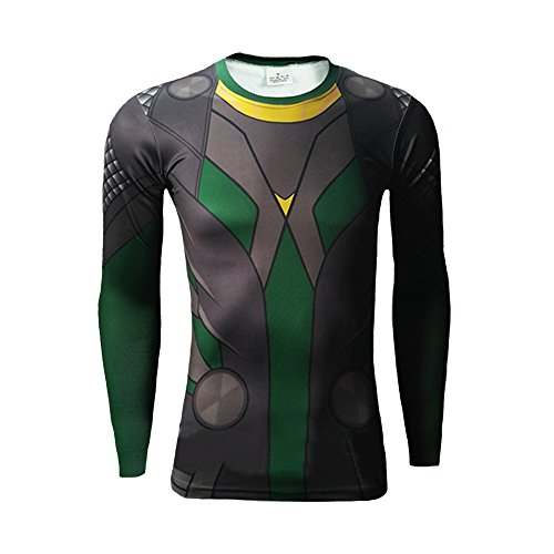 Loki T Shirt Quick Dry Costume for Villain Halloween Cosplay Long Sleeve XL]()