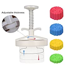 100g 5 Stamps Cookie Stamps Moon Cake Mold, Thickness Adjustable Christmas Cookie Press DIY Decoration Hand Press Cutter Cake Mold