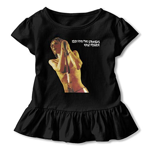 (To-night 2-6T Girl's Iggy and The Stooges Raw Power Outdoor Cotton Ruffled Tee Black 4T)