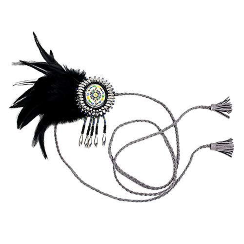 1920s Gatsby Feather Headband Bohemia Braided Halloween Ladies Hair Accessories (Color - Gray) ()