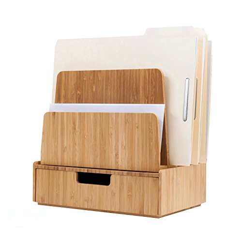 Desktop Paper Tray File Folder Holder 5-Slot, Bamboo Drawer Set; Storage for Office Supplies & Stationary Items, pens, Pencils, Scissors, Notepads, Business Cards and More by MobileVision