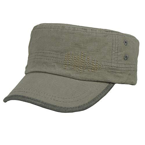 b42b6803 Free Bird 99 Low Profile Cotton Flat Top Peaked Army Military Cadet Cap Hat  (Grey