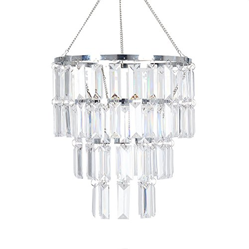 FlavorThings Faux Crystal Lampshade-Clear Rectangle Acrylic Pendant Light Lamp Shade,10.25 Diam 11.5 Tall,Great idea for Wedding Chandeliers Centerpieces Decoration and Any Event Party Home Decor