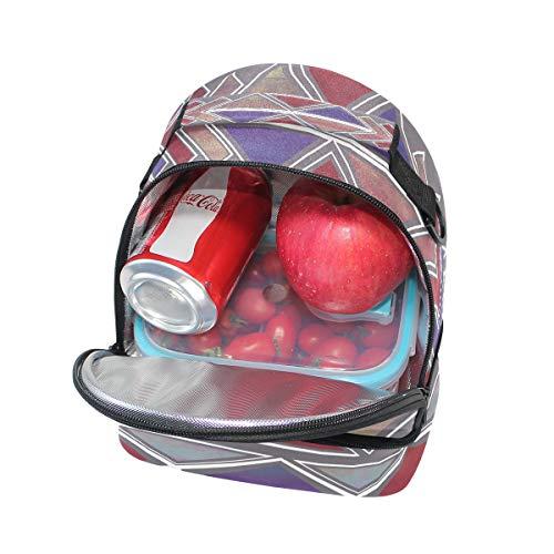 Bolso pincnic hombro ajustable con de con geométrica de con impresión vintage escuela correa bohemio FOLPPLY de el para étnico la almuerzo aislamiento de para ASAUg4rn