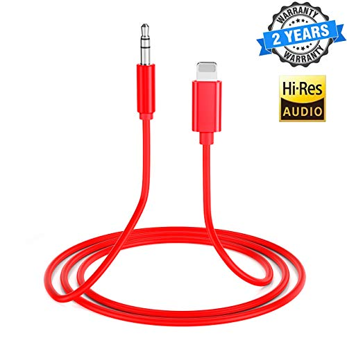 Aux Cord for iPhone X Car Audio & Video Input Cables Compatible with iPhone 11 XR/XS/XS MAX /8/8 Plus/7/7 Plus/ 6/6 Plus iPod/iPad Home Stereo/Headphone/Speaker Support All iOS- Red