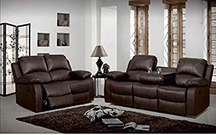 Swell Luxury Living Valencia Recliner Leather Sofa Set 3 2 Brown Dailytribune Chair Design For Home Dailytribuneorg
