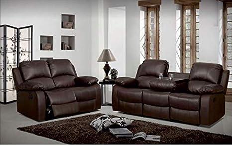 Luxury Living Valencia Juego de sofás reclinables de Piel 3+ ...