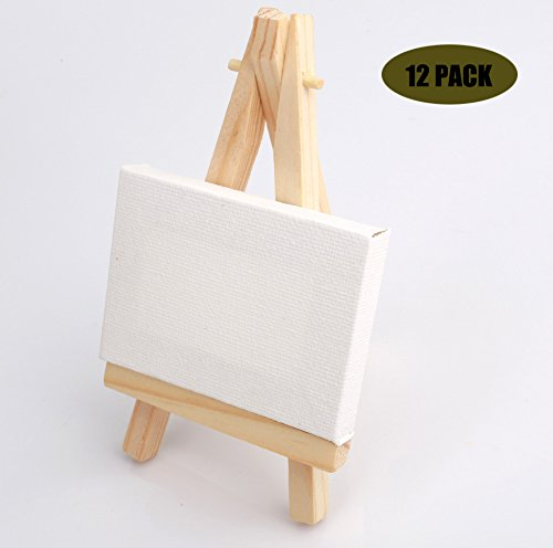 Z-COLOR 12 sets Mini Display Easel WIth Canvas 7×5cm Wedding Table Numbers Painting Hobby