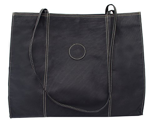 Piel Leather Carry-All Market Bag, Black, One Size
