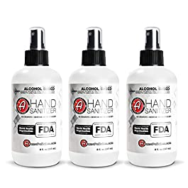 Adam's Hand Sanitizer (3 Pack) – USA Made Hand Sanitizing Spray | 75% Isopropyl Alcohol by Volume, Kills 99.9% of Germs…