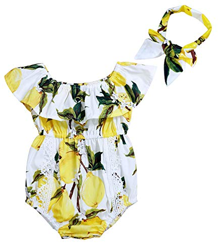 Infant Baby Girl Clothes Cute Floral Print Ruffles Romper Summer Clothes + Headband (B-Yellow, 6-12 Months)