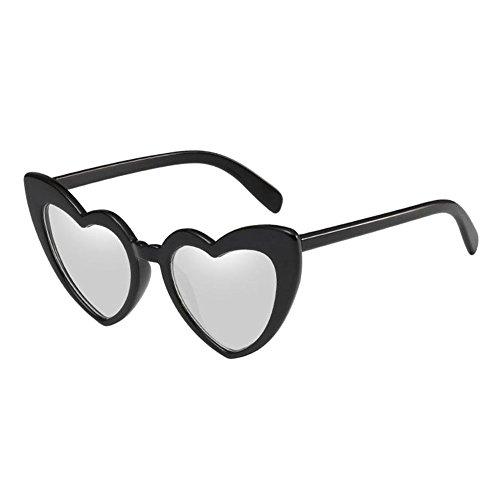 Meijunter Chat Élégant Love Protectrices Protection Noir En Rétro Soleil Style Oeil Glasses De Heart Lunettes Uv Argent Polarisé Classique Forme BtwYxOqrSB