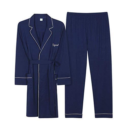 Manga Dormir Pijamas Mode Bata De Cómodas Ocio Parejas Ropa Damas Blau Capital Otoño Marca Pareja Conjunto Suaves Larga gx4wq11