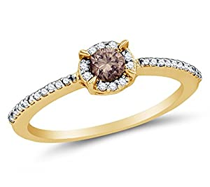 Size 7 - 10K Yellow Gold Chocolate Brown & White Round Diamond Halo Circle Engagement Ring - Prong Set Solitaire Center Setting Shape with Channel Set Side Stones (.36 cttw.)