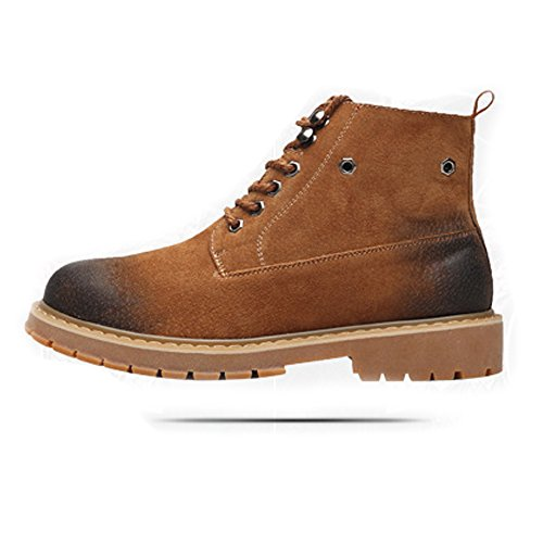 Battle Men Men's Shoes Side Zipper Genuine Leather High Top Big Soles Martin Ankle Boots For Gentlemen Fashion (Color : Warm Brown, Size : 7.5MUS)