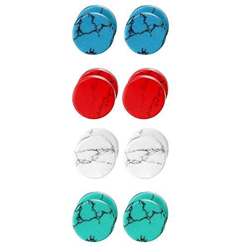 Cupimatch 4 Pairs 10MM Unisex Marble Stone Screw Stud Earrings Set, Ear Piercing Plugs Faux Gauges Illusion Tunnel Earrings