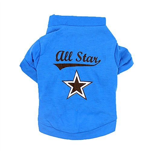 Dog Clothes, Lookvv Fashion Pentagram Printing Pet Puppy Costumes Summer Small Dogs Cats T Shirt Vest Apparel Blue Small]()
