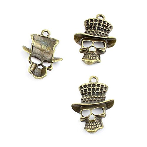 100pcs Jewelry Making Charms Jewellery Charme Antique Bronze Brass Tone Findings Lots Bulk Supply Supplies Repair Vintage Retro PI035 Halloween Skull