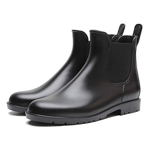 Buganda Women's Short Rain Boots - Waterproof Non Slip Ankle Rain Shoes Elastic Chelsea Booties Black