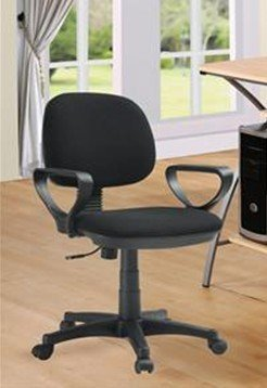- 1 Piece Black Fabric Secretary Office Student Chair W/ Casters and Wheels F01506