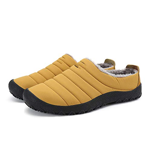 Winter Men Shoes Plush Men Slippers Warm Fur Thicken Cotton-Padded Home Slipper Indoor Flat Shoes,Yellow,11 ()