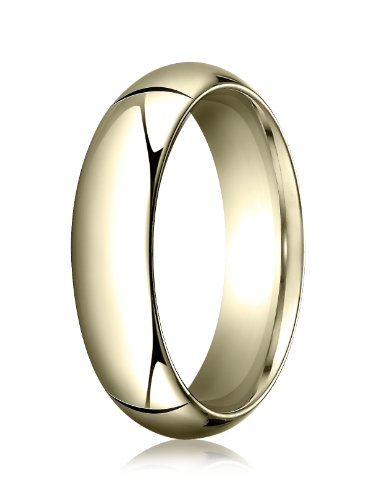 Mens 14K Yellow Gold, 6.0mm High Dome Heavy Comfort-Fit Ring (sz 9)