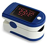 Zacurate Pro Series Finger Heart Rate Monitor and Blood HbO2 Meter with silicon cover, batteries and lanyard (Sapphire Blue)