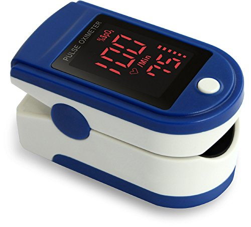 Zacurate Pro Series CMS 500DL Fingertip Pulse Oximeter Blood Oxygen Saturation Monitor with silicon cover, batteries and lanyard