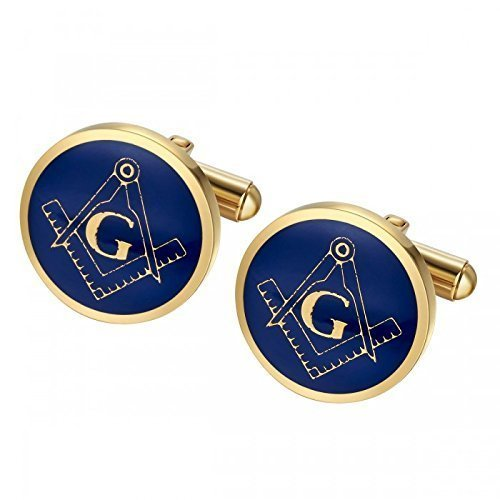 - Blue Masonic Fraternity Cufflinks in Stainless Steel with Yellow Gold Plate