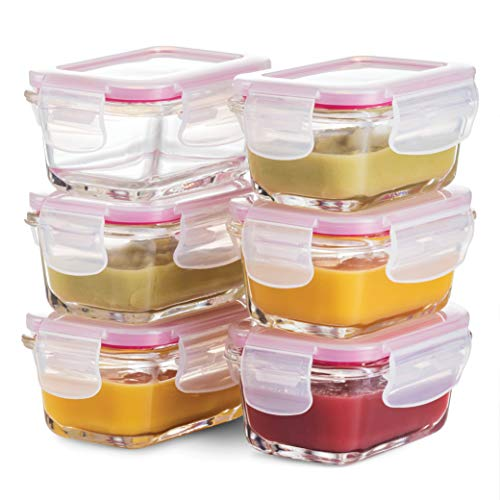 Superior Glass Baby Food Storage Containers – set of 6 – 4 Oz Containers with Airtight BPA-Free Locking Lids – Baby Food containers – Microwave & Dishwasher Safe – Small Containers for Snacks Dips etc