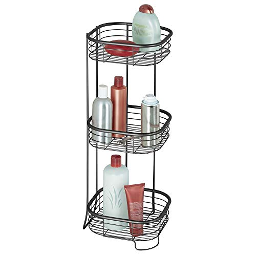 mDesign Square Metal Bathroom Shelf Unit - Free Standing Vertical Storage for Organizing and Storing Hand Towels, Body Lotion, Facial Tissues, Bath Salts - 3 Shelves, Steel Wire - Matte Black