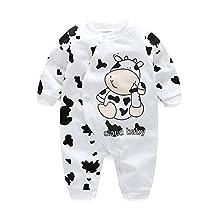 Cute Newborn Infant Girl Boy Long Sleeve Romper Clothes Pajamas Nightwear Cow pattern